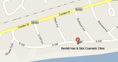 Map showing Bexhill Hair & Skin Cosmetic Clinic, Bexhill on Sea, East Sussex